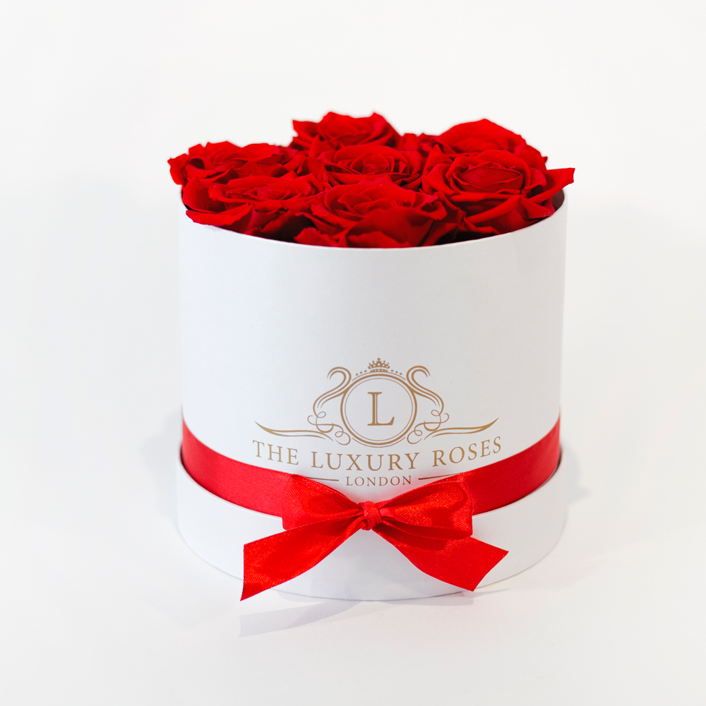Online Flower Delivery Small White Box Of Infinity Roses That Last A
